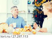 Купить «Mature couple celebrate Christmas», фото № 27297113, снято 19 марта 2019 г. (c) Яков Филимонов / Фотобанк Лори