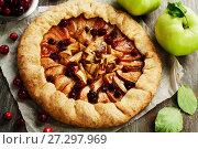 Купить «Galette with apples and cranberry», фото № 27297969, снято 6 октября 2017 г. (c) Надежда Мишкова / Фотобанк Лори