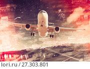 Купить «Plane on city background», фото № 27303801, снято 16 октября 2018 г. (c) Яков Филимонов / Фотобанк Лори