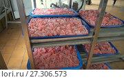 Купить «Racks with trays of marmalade in the old factory», видеоролик № 27306573, снято 29 августа 2017 г. (c) Курганов Александр / Фотобанк Лори
