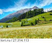 Купить «Irrigation water spouts in Summer Alps mountain», фото № 27314113, снято 2 июня 2012 г. (c) Юрий Брыкайло / Фотобанк Лори