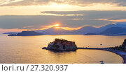 Купить «Sunset and Sveti Stefan sea islet (Montenegro)», фото № 27320937, снято 13 июля 2020 г. (c) Юрий Брыкайло / Фотобанк Лори