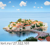 Купить «The morning view of Sveti Stefan sea islet (Montenegro)», фото № 27322101, снято 22 июня 2012 г. (c) Юрий Брыкайло / Фотобанк Лори