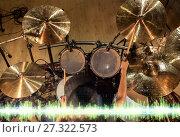 Купить «male musician playing drum kit at studio», фото № 27322573, снято 18 августа 2016 г. (c) Syda Productions / Фотобанк Лори