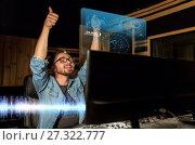 Купить «man at mixing console in music recording studio», фото № 27322777, снято 18 августа 2016 г. (c) Syda Productions / Фотобанк Лори
