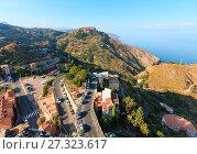 Купить «Taormina view from Castelmola, Sicily.», фото № 27323617, снято 11 июня 2017 г. (c) Юрий Брыкайло / Фотобанк Лори