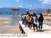 Группа японских туристов фотографируется на причале на фоне священных ворот Тории. Морской отлив. Остров Itsukusima, Япония (2013 год). Редакционное фото, фотограф Кекяляйнен Андрей / Фотобанк Лори