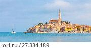 Купить «Panoramic view on old town Rovinj, Croatia.», фото № 27334189, снято 23 февраля 2019 г. (c) Matej Kastelic / Фотобанк Лори