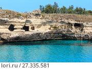 Купить «Sea coast Archaeological Area of Roca Vecchia, Italy», фото № 27335581, снято 7 июня 2017 г. (c) Юрий Брыкайло / Фотобанк Лори