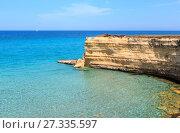 Купить «Sea beach Spiaggia della Punticeddha, Salento, Italy», фото № 27335597, снято 7 июня 2017 г. (c) Юрий Брыкайло / Фотобанк Лори