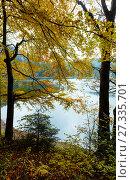 Купить «Lake Synevyr autumn view.», фото № 27335701, снято 12 октября 2017 г. (c) Юрий Брыкайло / Фотобанк Лори