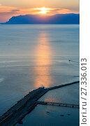 Купить «Sunrise Castellammare del Golfo sea bay, Sicily, Italy», фото № 27336013, снято 17 июня 2017 г. (c) Юрий Брыкайло / Фотобанк Лори