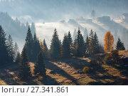 Купить «First rays of sun in Carpathians.», фото № 27341861, снято 18 октября 2017 г. (c) Юрий Брыкайло / Фотобанк Лори