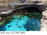 Купить «Cavern Grotta della poesia, Roca Vecchia, Salento sea coast, Italy», фото № 27341881, снято 7 июня 2017 г. (c) Юрий Брыкайло / Фотобанк Лори