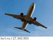 Купить «SAS Airlines plane landing», фото № 27343993, снято 9 марта 2017 г. (c) Яков Филимонов / Фотобанк Лори