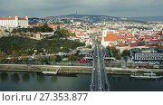 Купить «Panoramic view on Bratislava old town over the Danube river in Slovakia», видеоролик № 27353877, снято 27 ноября 2017 г. (c) Яков Филимонов / Фотобанк Лори