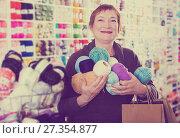 Купить «Woman with accessories for needlework», фото № 27354877, снято 10 мая 2017 г. (c) Яков Филимонов / Фотобанк Лори