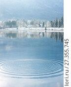 Winter lake landscape with reflactions. Стоковое фото, фотограф Anton Chechotkin / Фотобанк Лори