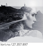 Double exposure. Portrait of woman combined with a mountain road and the sea. Black and white photo. Стоковое фото, фотограф Alexander Tihonovs / Фотобанк Лори