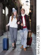 Купить «male and female in the historic center with baggage», фото № 27358181, снято 18 ноября 2017 г. (c) Яков Филимонов / Фотобанк Лори