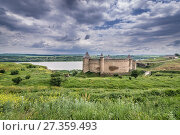 Купить «Aerial view of Fortress in Khotyn city, located in Chernivtsi Oblast of western Ukraine.», фото № 27359493, снято 13 июня 2017 г. (c) easy Fotostock / Фотобанк Лори