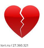 Купить «Red broken heart», иллюстрация № 27360321 (c) Сергей Лаврентьев / Фотобанк Лори
