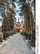 Купить «Церковь Святого Серафима Саровского. Песочный. Санкт-Петербург», фото № 27370497, снято 8 января 2018 г. (c) Сергей Афанасьев / Фотобанк Лори