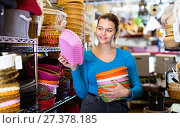 Купить «Female teenager and assortment of wicker basket in decor store», фото № 27378185, снято 13 декабря 2017 г. (c) Яков Филимонов / Фотобанк Лори