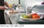 Купить «Chief on the kitchen of restaurant cuts vegetables for salad - cooking concept, de-focused», видеоролик № 27381273, снято 6 декабря 2019 г. (c) Константин Шишкин / Фотобанк Лори