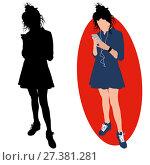 Girl with a phone and a headphones. Стоковая иллюстрация, иллюстратор Алексей Беликов / Фотобанк Лори