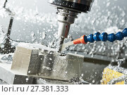 Купить «Milling metalworking process. Industrial CNC metal machining by vertical mill», фото № 27381333, снято 17 мая 2017 г. (c) Дмитрий Калиновский / Фотобанк Лори