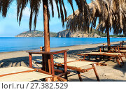 Купить «Tyrrhenian sea beach, Campania, Italy», фото № 27382529, снято 21 июня 2017 г. (c) Юрий Брыкайло / Фотобанк Лори