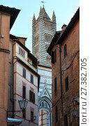 Купить «Siena Cathedral bell tower, Tuscany, Italy», фото № 27382705, снято 23 июня 2017 г. (c) Юрий Брыкайло / Фотобанк Лори