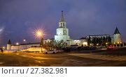 Купить «View of the Kazan Kremlin in the winter evening, Kazan, Russia», фото № 27382981, снято 2 января 2018 г. (c) Юлия Бабкина / Фотобанк Лори