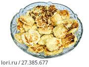 Купить «Fritters in glass plate on white background», фото № 27385677, снято 26 декабря 2015 г. (c) Евгений Ткачёв / Фотобанк Лори
