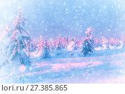 Купить «Snowstorm in the winter forest. Falling snow», фото № 27385865, снято 5 января 2016 г. (c) Евгений Ткачёв / Фотобанк Лори