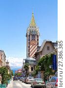 "Купить «Clock Tower in the center of Batumi. Clock Tower is located on Piazza Square and includes 4-star Boutique Hotel ""Piazza""», фото № 27386385, снято 10 июля 2013 г. (c) Евгений Ткачёв / Фотобанк Лори"