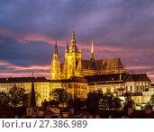 Купить «Собор Святого Вита на закате, Прага, Чехия», фото № 27386989, снято 9 сентября 2014 г. (c) Наталья Волкова / Фотобанк Лори
