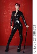 Купить «Beautiful fetish model in latex costume», фото № 27388753, снято 26 октября 2017 г. (c) Дмитрий Черевко / Фотобанк Лори