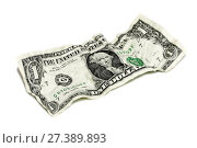 Купить «Смятая купюра достоинством 1 доллар на белом фоне», фото № 27389893, снято 6 мая 2010 г. (c) Александр Гаценко / Фотобанк Лори