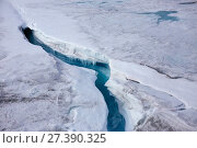 Купить «Aerial view of ice cap north-east of Sermeq Kujalleq Glacier with meltwater channel disappearing in a moulin, Sermersuaq / Greenland ice sheet, Greenland, Photographed for The Freshwater Project», фото № 27390325, снято 22 апреля 2018 г. (c) Nature Picture Library / Фотобанк Лори