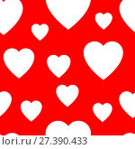 Купить «Seamless pattern from simple flat hearts», иллюстрация № 27390433 (c) Сергей Лаврентьев / Фотобанк Лори