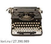 Купить «Старинная печатная машинка на белом фоне изолировано», фото № 27390989, снято 20 октября 2017 г. (c) Наталья Волкова / Фотобанк Лори