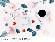 Купить «St Valentines day background in cold tones. Cup of coffee, peach roses, blank card, owl shaped clock, heart shaped candies», фото № 27391053, снято 25 января 2017 г. (c) Зезелина Марина / Фотобанк Лори