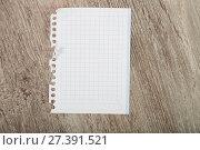 Купить «Torn-off sheet of notebook», фото № 27391521, снято 17 января 2018 г. (c) Яков Филимонов / Фотобанк Лори