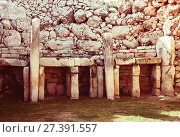 Купить «Ggantija neolithic temples (3600 B.C.)», фото № 27391557, снято 18 декабря 2010 г. (c) Яков Филимонов / Фотобанк Лори