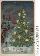 Купить «Старинная рождественская открытка», фото № 27398241, снято 23 февраля 2019 г. (c) Retro / Фотобанк Лори