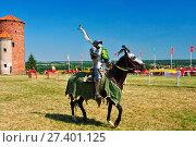 Купить «Knights' tournament in Golub-Dobrzyn, Kuyavian-Pomeranian Voviodeship, Poland.», фото № 27401125, снято 21 июля 2019 г. (c) age Fotostock / Фотобанк Лори