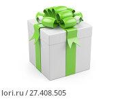 Купить «Gift christmas box with big green bow», иллюстрация № 27408505 (c) Маринченко Александр / Фотобанк Лори