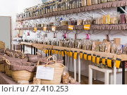 Купить «Glass cans with many different dry spices standing», фото № 27410253, снято 13 июня 2017 г. (c) Яков Филимонов / Фотобанк Лори